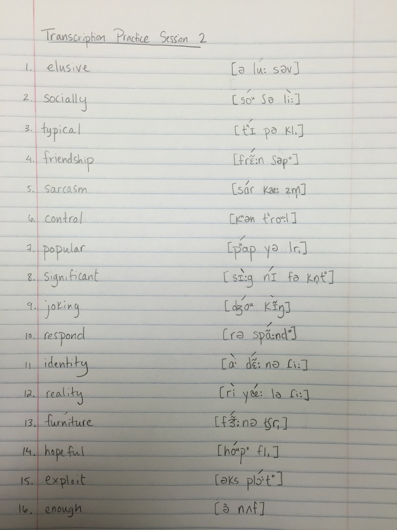Transcription Practice 2 Midterm Study Guide Phonetics Phonology